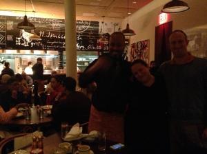 Jen and Russell with Aaron, our server