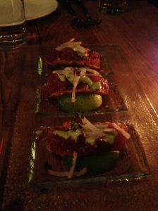 Tuna Poke Wonton Tacos-micro cilantro, wasabi kewpie