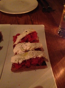 Classic Pan Con Tomate with fresh burrata