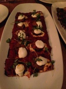 Crispy Eggplant Pizzetta-charred san marzano tomato sauce, whipped ricotta, chile oil
