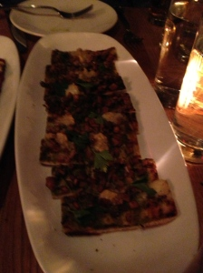 Wild Mushroom Pizzetta-roasted garlic-green peppercorn puree, robiola
