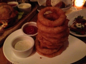 Vidalia Onion Ring Tempura-homemade blue cheese dip
