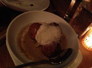 Oven Braised Chicken Meatballs-sheeps milk ricotta, wild mushrooms, truffle