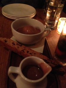Hot Chocolate Affogato-espresso ice cream, dried cherry biscotti