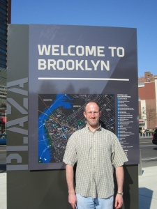 Russell in front of Barclay's Center